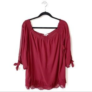 Maurices | Maroon Off the Shoulder Blouse